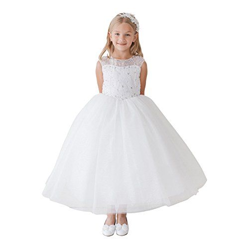 Big Girls White Glitter Tulle Illusion Neckline Junior Bridesmaid Dress 8 (Top Kids Tip Dresses)