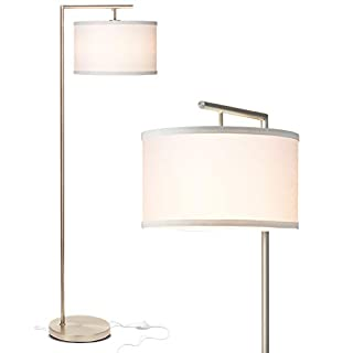 Brightech Montage Modern - Floor Lamp for Living Room Lighting - Bedroom & Nursery Standing Accent Lamp - Mid Century, 5' Tall Pole Light Overhangs Reading - with LED Bulb - Satin Nickel
