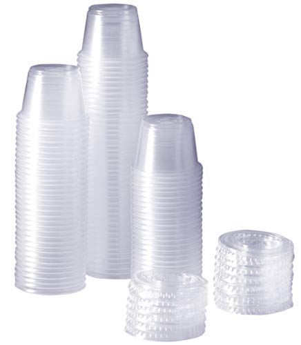 [100 Sets - 1 oz.] Plastic Disposable Portion Cups With Lids, Souffle Cups -
