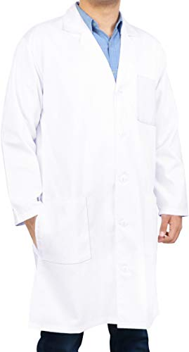 Utopia Wear Professional Lab Coat Men - Laboratory Coat 41 Inch Kick Pleat (White) -