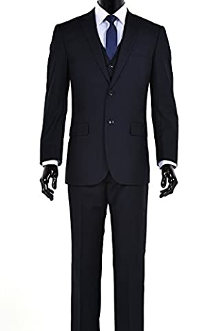 Elegant Men's Modern Fit Three Piece Two Button Suit - Many Colors (40 Regular, Navy) - Button Fly Suit