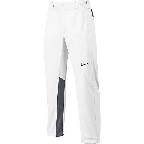 Nike Men's Vapor 1.0 Unhemmed Baseball Pant (Small, Wht/Gry/Blk) (Pant Unhemmed Baseball)