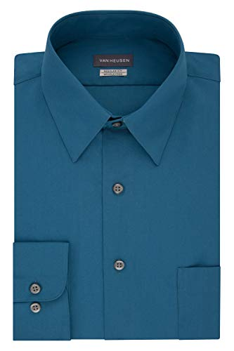 (Van Heusen Men's Dress Shirt Regular Fit Poplin Solid, deep sea, 15