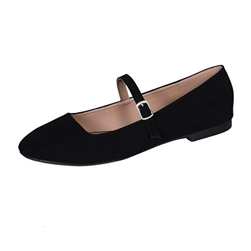 CINAK Flats Mary Jane Shoes Women's Casual Comfortable Walking Buckle Classic Ankle Strap Style Ballet Slip On (Matte Black 7) (Mary Janes Shoes Women For)