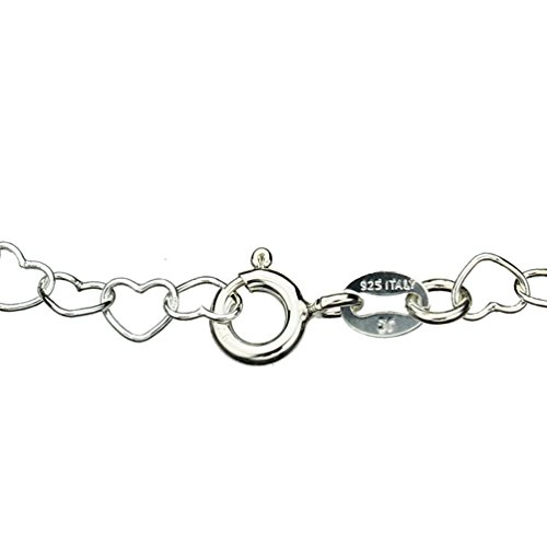 Sterling Silver Heart Link Nickel Free Chain Anklet Italy Adjustable, 11""