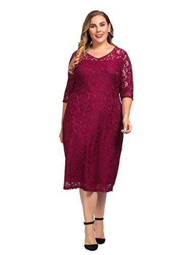 Chicwe Women's Plus Size Stretch Guipure Lace Dress - Party Wedding Cocktail Dress Wine Red 3X