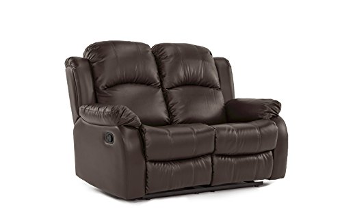 Divano Roma Furniture Classic and Traditional Bonded Leather Recliner Chair, Love Seat, Sofa Size - 1 Seater, 2 Seater, 3 Seater Set (2 (Set Sofa Loveseat Recliner Chair)