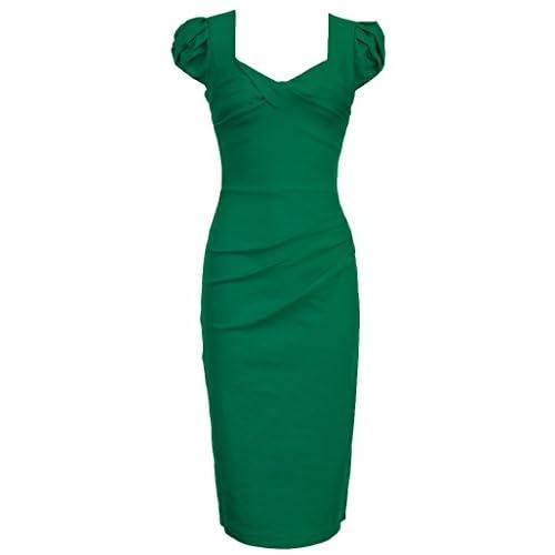 315f6193f6a2 MUXXN Women's 50s 60s Vintage Casual Cap Sleeve Office Pencil Dress on sale