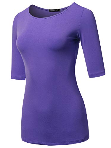 SSOULM Women's 1/2 Sleeve Silky Stretchy Crewneck Slim Fit T-Shirt Top Purple S