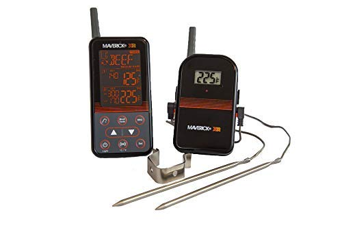 Maverick Remote Smoker Thermometer - Maverick XR-40 Wireless Extended Range Digital Instant Read Cooking Kitchen Grilling Smoker BBQ Probe Meat Thermometer, Black
