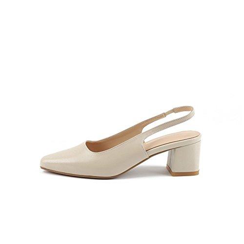 QXH Zapatos de Mujer Sandalias Boca Superficial Media Cabeza Redonda Paño Fino Talón creamy-white