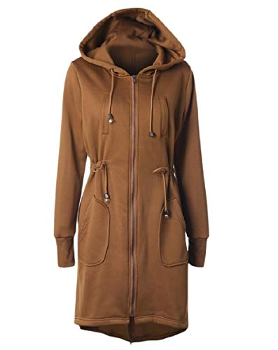 Womens Zip Xinheo Kaki Giacca Con up Coat Coulisse Top Felpa Cappuccio Con Casuale WUWgf5Fxn