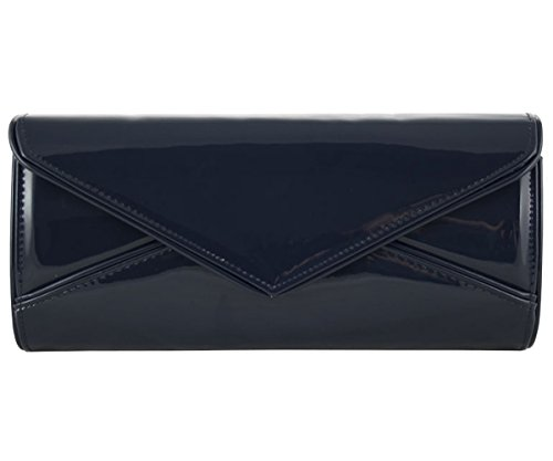 black Hotstylezone red lady's patent New clutch evening envelope Navy wedding prom party navy bag d7n6BBv