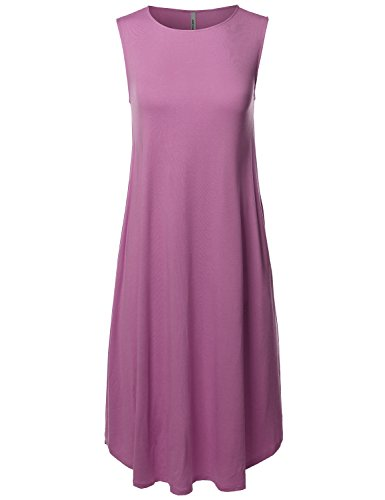 Made by Emma Casual Solid Sleeveless Round Neck Loose Fit Midi Dress Dark Mauve ()