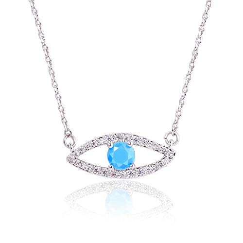 - KISSPAT 14 K Gold Natural Gemstone Evil Eye Pendant Necklace Jewelry for Women (Zircon-S)