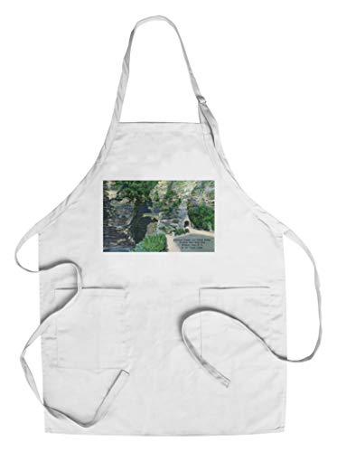 (Watkins Glen, New York - State Park Entrance Tunnel and Sentry Bridge View (Cotton/Polyester Chef's Apron))