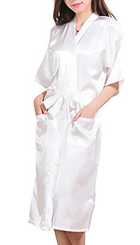 Manica Camice Fashion Bridesmaid Di Vestaglia Bianca Con Mezza V Stampa Elegante Notte Hx Cintura Glamorous Semplice Scollo Sposa Lunga Lettere Donna Kimono Da Vestaglie OqgncXdE