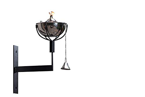 Legends Direct Maui Wall Sconce Landscape Torch, Set of 2 - Tabletop Torch, Deck Mount, Wall Mount, Deck Sconce, Oil Lamp, Lamp (Smooth Nickel)