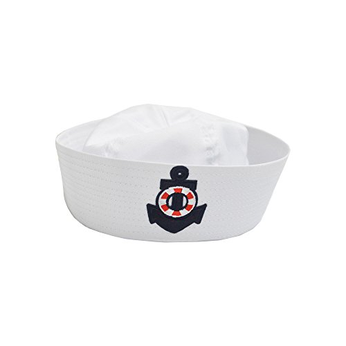 Toddler White Sailor Hat & Gold Anchor for Sailing Nautical Party Costume Accessory (Navy Blue)