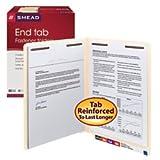Smead End Tab Fastener File Folder, Shelf-Master Reinforced Straight-Cut Tab, 2 Fasteners, Letter Size, Manila, 50 per Box (34115)