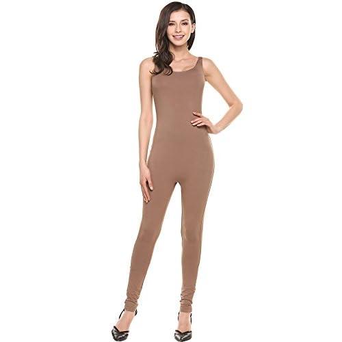 Cheap Ekouaer Women's Catsuit Spaghetti Strap Bodysuit Yoga Unitard Jumpsuit Romber