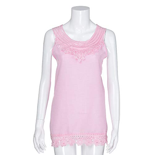 iYBUIA Women O-Neck Sleeveless Pure Color Lace Plus Size Vest Loose T-Shirt Blouse with Hollow Hem Pink by iYBUIA (Image #3)
