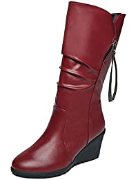 Fashion Women Solid Color Plush Thick Zipper Boots...