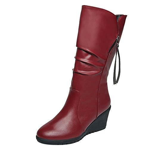 Hunzed Women Boots Wedge Leather Waterproof Plus Velvet Round Head Side Zipper High Heel Girl's Boots (Wine, ()