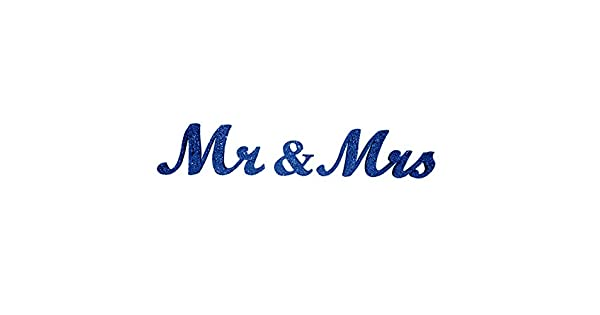 Amazon.com: Azul marino Mr & Mrs Glitter sign- boda ...