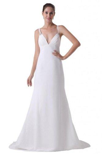 Dresses Train Ivory Dearta Straps Spaghetti Line A Women's Court Chiffon Wedding qyrzqAPF