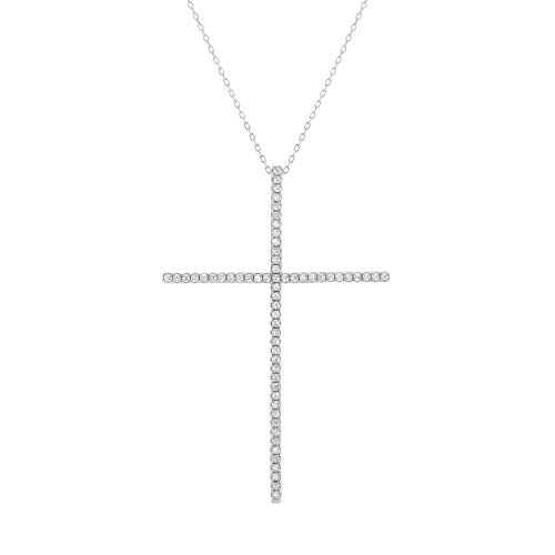 MIA SARINE Round Cubic Zirconia Thin Cross Pendant Necklace for Women in Rhodium Plated 925 Sterling Silver (White) ()