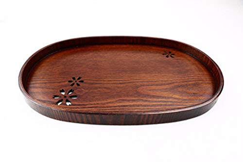 QPSGB Fruit Basket Wooden Oval Fruit Plate Wooden Tray Cherry Blossom Plate Flat Plate Fruit Plate - tray bowl stand