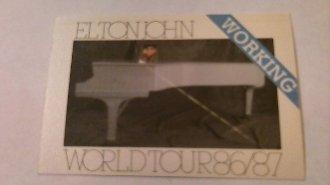 1986-87 Elton John Backstage Pass World Tour Working from RareFinds11