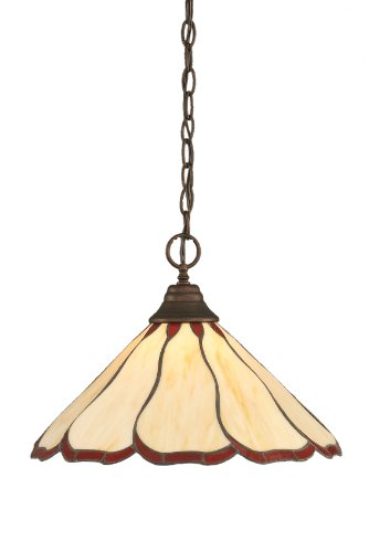 RZ-916 One-Light Chain Pendant Bronze with Honey and Burgundy Flair Tiffany Glass, 16-Inch ()