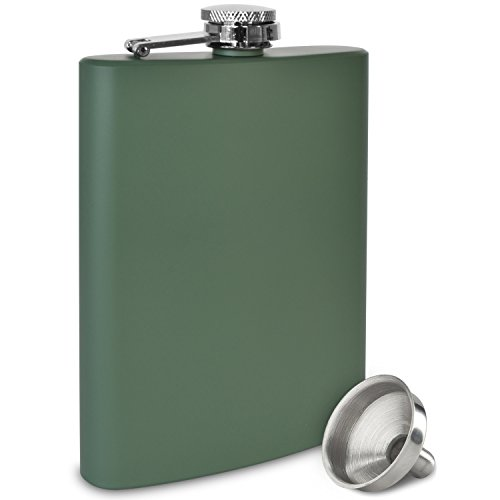 Premium 8 oz Matte Green Flask - 304 (18/8) Stainless Steel - Leak Proof - Liquor Hip Flask by Future Hydrate - Includes Free Bonus Funnel and Gift Box (Matte Army Green, 8 ounce capacity)