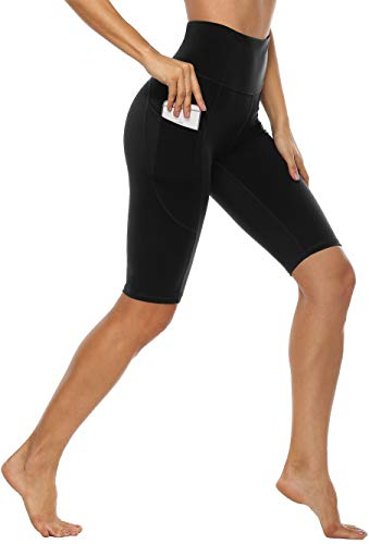 Anwell Tights Damen Leggings Kurz mit Handytasche Schwarz Yogahose High Waist