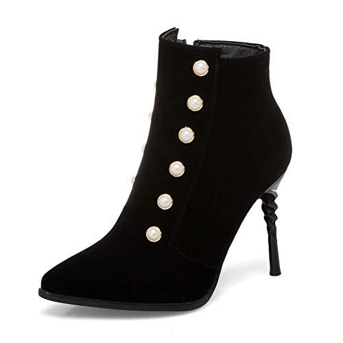 Zapatos Mujer 31 Más Heels 48 Tamaño Punta Black Partido Botas Botines Nueva Estrecha Marca Thin Hoesczs High xqY8wSFITn