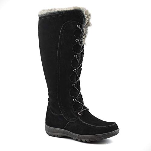 Comfy Moda Women's Winter Snow Boots Genuine Suede Leather #6-12 - Warsaw (10, Black)