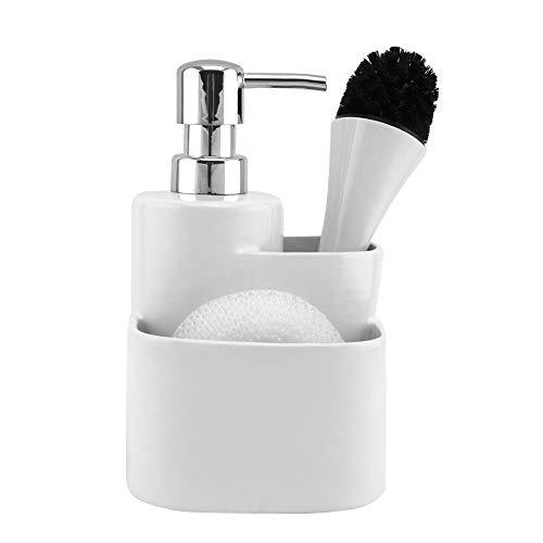 Global Village Bathroom Ceramic Countertop Soap Dispenser White with Sponge Holder and Small Plastic Brush - Organizer for Kitchen Sink