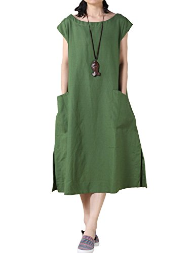 - Mordenmiss Women's Cotton Linen Dresses Cap Sleeve Summer Dress with Pockets L-Green...