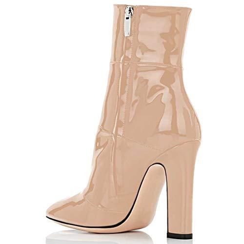 Beige Cerniera Tacco Spillo 12 Jushee pu Donna Juworr a Leather CM Stivali IxY0Yv1wq