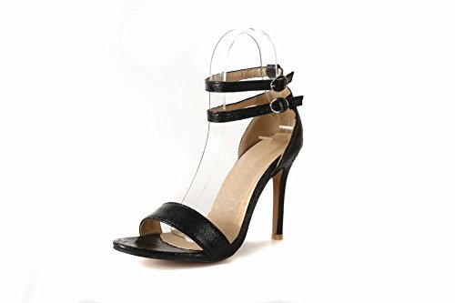 Carolbar Women's Chic Fashion Ankle-Strap High Heel Evening Sandals Black bq7PJko2