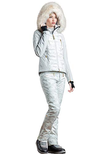 (EM-EL Bogner Sport Suzie-T Off-White Light Camo Insulated Ski Jacket with Bleached White Finnraccoon Fur Hood Trim)