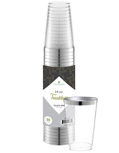 Elite Selection 30 Count 14 Oz. Disposable Hard Party Plastic Cups / Tumblers With Silver Rim