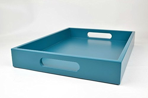 Large Ottoman Coffee Table Tray Teal Blue