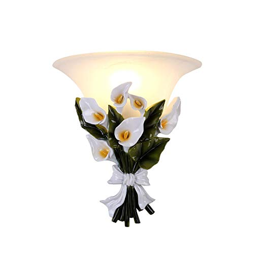 ZHH European Retro Wall Lamps Bedroom Background Wall Lantern Resin Antique Bouquet Wall Lights