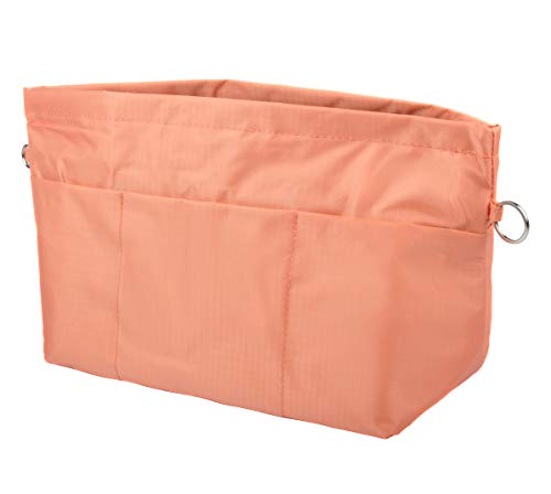 Vercord Handbag Purse Tote Pocketbook Organizer Insert Zipper Closure 11 Pockets Light Orange Large