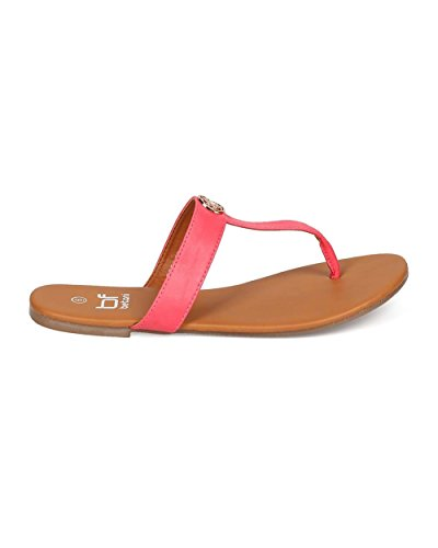Betani Eh59 In Similpelle T-strap In Similpelle Sandalo - Coral