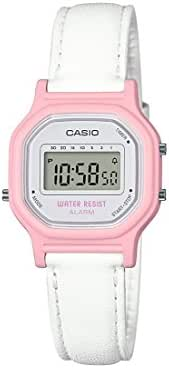Casio Women's Classic Quartz Watch with Leather-Synthetic Strap, White, 14.8 (Model: LA-11WL-4ACF