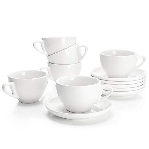 Sweese 4306 Porcelain Cappuccino Cups with Saucers - 6 Ounce for Specialty Coffee Drinks, Latte, Cafe Mocha and Tea - Set of 6, White (Porcelain Tea Coffee)